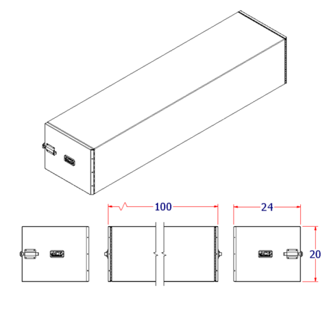 Dunnage Box 24W100D20H slide latch smooth